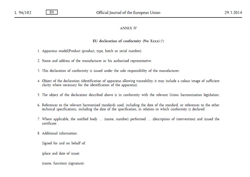The Eu Declaration Of Conformity  F Tech Notes